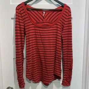 Free People Red Blue Striped Embroidered Sleeves